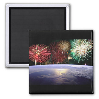 World and Fireworks Magnet