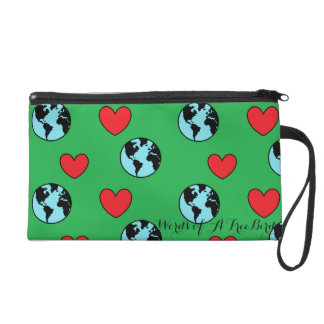 World and Hearts Wristlet