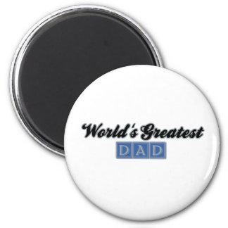 World's Greatest Dad (Blue) 6 Cm Round Magnet
