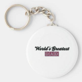 World's Greatest Dad (Burgundy) Basic Round Button Key Ring