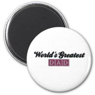 World's Greatest Dad (Burgundy) 6 Cm Round Magnet