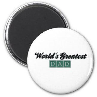 World's Greatest Dad (Green) 6 Cm Round Magnet