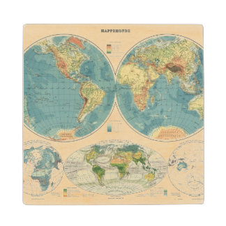 World Atlas Map 2 Wood Coaster
