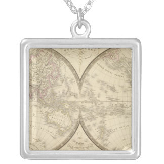 World Atlas Map Silver Plated Necklace