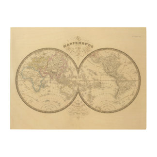 World Atlas Map Wood Canvases
