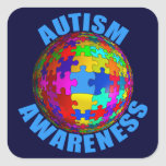 World Autism Awareness Square Stickers