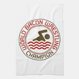 World Bacon Wrestling Champion Tea Towel