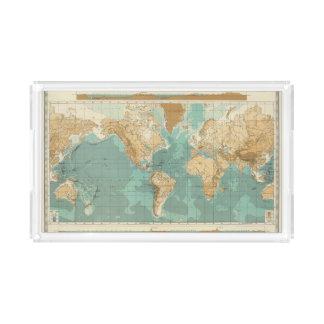 World bathyorographical map acrylic tray