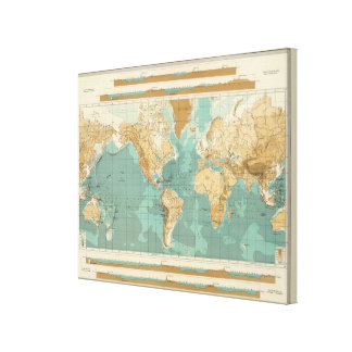 World bathyorographical map canvas print