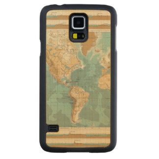 World bathyorographical map carved maple galaxy s5 case