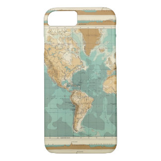 World bathyorographical map iPhone 8/7 case