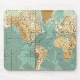 World bathyorographical map mouse mat