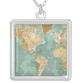 World bathyorographical map silver plated necklace