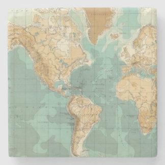 World bathyorographical map stone coaster