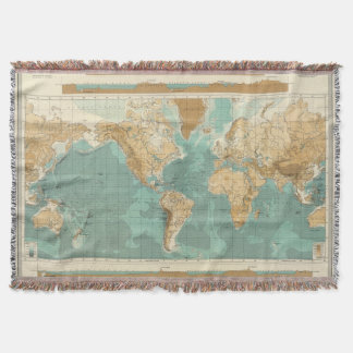 World bathyorographical map throw blanket