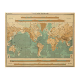 World bathyorographical map wood canvas