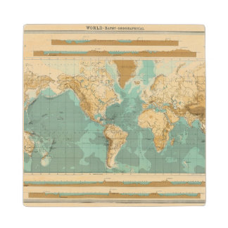 World bathyorographical map wood coaster