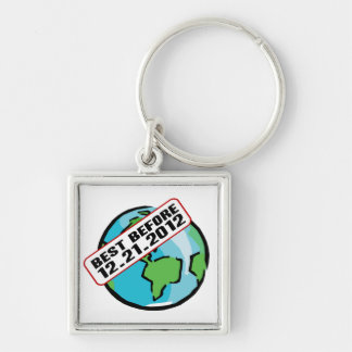 World Best Before 12.21.2012 Silver-Colored Square Key Ring