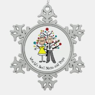 World Best Nana and Papa Snowflake Ornament
