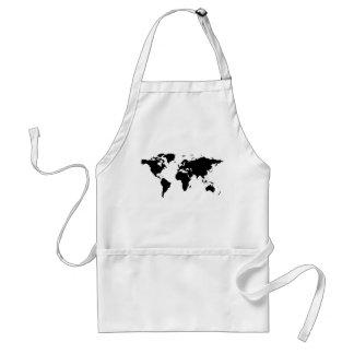 world black graphic map aprons