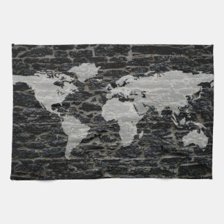 World black wall tea towel