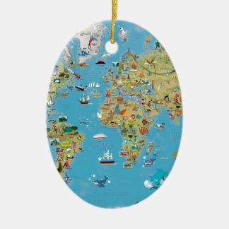 World Cartoon Map Christmas Ornament