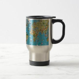World Cartoon Map Stainless Steel Travel Mug