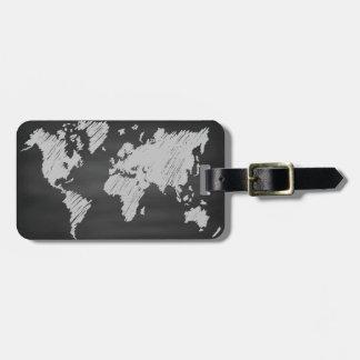 World Chalkboard Map Bag Tag
