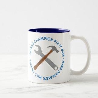 World Champion Fix It Man Gift Two-Tone Mug