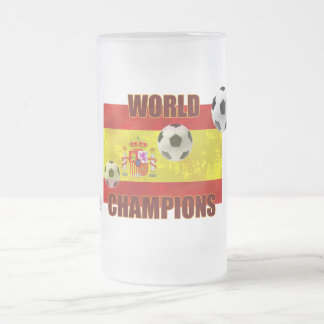 World Champions Spain flag soccer ball 2010 Frosted Glass Mug