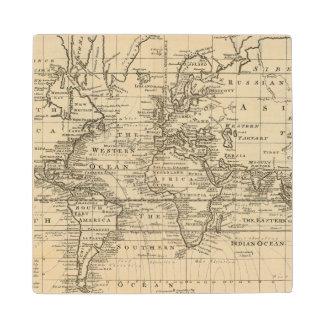 World Chart Wood Coaster