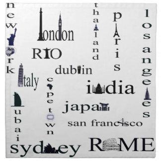 world city napkin