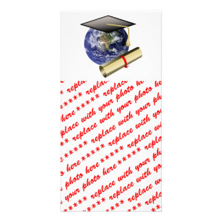 World Class Graduation - Cap and Golden Diploma Personalised Photo Card
