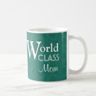 World Class Mom Love You Green Pattern W1655G Basic White Mug