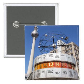World Clock and Television Tower, Alexanderplatz, 15 Cm Square Badge