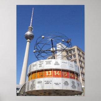 World Clock and Television Tower, Alexanderplatz, Poster