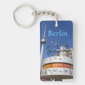 World Clock and Television Tower, Alexanderplatz, Single-Sided Rectangular Acrylic Key Ring