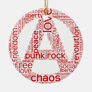 World cloud in anarchy shape christmas ornament