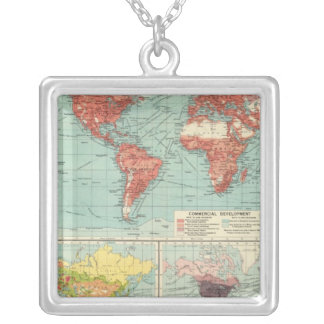 World commerce Map Silver Plated Necklace