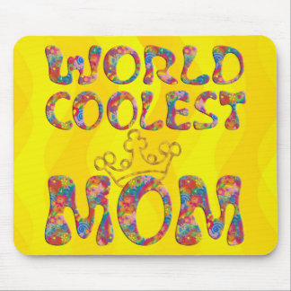 World Coolest Mom | yellow waves Mousepad