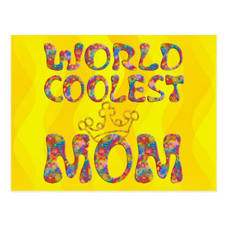 World Coolest Mom | yellow waves Postcard