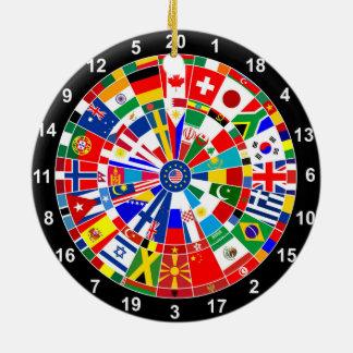 world country flag darts board game travel bulls-e round ceramic decoration