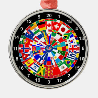 world country flag darts board game travel bulls-e Silver-Colored round decoration