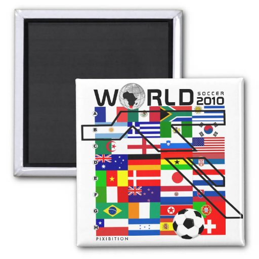 World Cup 2010 All Team Flags Square Magnet