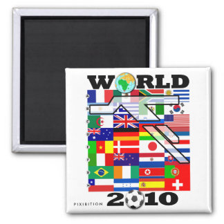 World Cup 2010 Globe Football Square Magnet