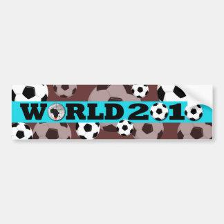 World Cup Ball Bumper Sticker Blue Brown