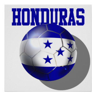 World Cup Soccer Brazil 2014 Honduras flag ball Poster