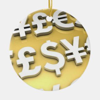 World Currencies Gold International Finance Wealth Round Ceramic Decoration