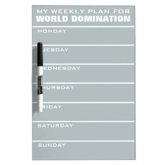 World Domination Weekly Plan custom Dry Erase Board