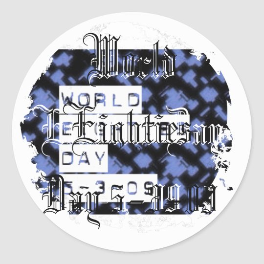 world eighties day classic round sticker